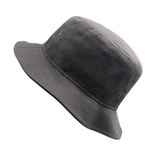 Unisex 100% Washed Cotton Packable Fishing Summer Travel Bucket Hat Outdoor Cap (Grey-1)]()