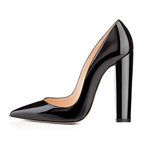 Onlymaker Women's Pointed Toe Block Chunky Classic High Heels Slip On Shoes Wedding Office Party Pumps Artificial Leather Black ()
