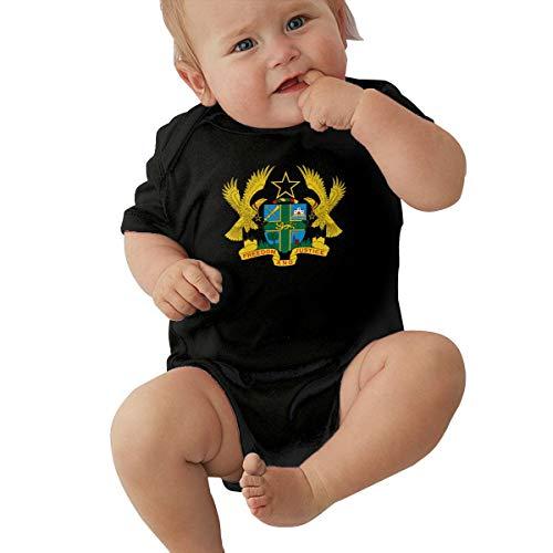 HOUFOUCC Coat of Arms of Ghana Baby Onesie Organic Short-Sleeve Bodysuit Black
