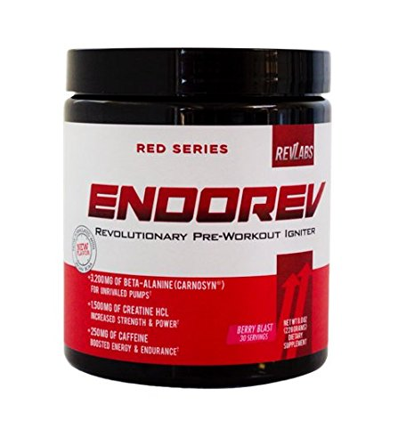 Rev Labs EndoRev Red Series Pre-Workout with 3G of Beta Alanine, 1.5G of Creatine (30 Serving, Berry Blast)