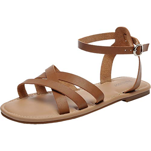 Women's Wide Summer Flat Sandals - Open Toe One Band Ankle Strap Flexible Shoes.(181262 Brown,12)