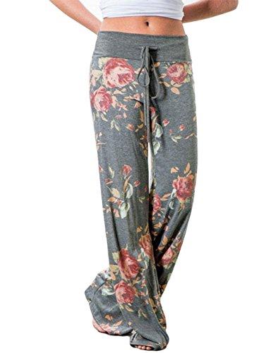 Buauty Womens Cotton Lounge Pants Summer Boho Printed Pajama Yoga Palazzo Loose Sweatpants S-3XL