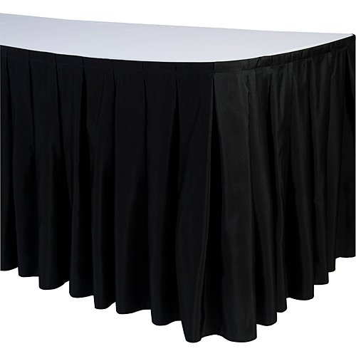 LinenTablecloth 14 ft. Accordion Pleat Polyester Table Skirt Black