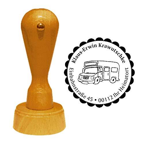 /Ø 40 mm mit pers/önlicher Adresse und Motiv Camping Caravan Wohnwagen Wohnmobil Stempel Adressstempel /« CAMPER /» Durchmesser ca
