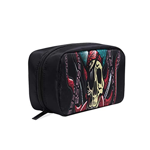 (Scary Pirate Skull Portable Travel Makeup Cosmetic Bags Organizer Multifunction Case Small Toiletry Bags For Women And Men Brushes Case)