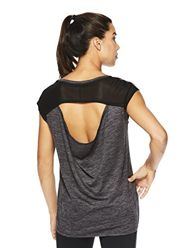 Gaiam Women's Short Sleeve Open Back Yoga T Shirt - Relaxed Fit Workout & Training Top Asphalt Heather - Athena, Small