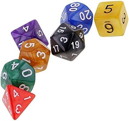 MagiDeal Set de 7 Piezas Dados Multi-Echados Multi-Color D4 D6 D8 D10 D12 D20 Juegos de Mesa - #4: Amazon.es: Juguetes y juegos