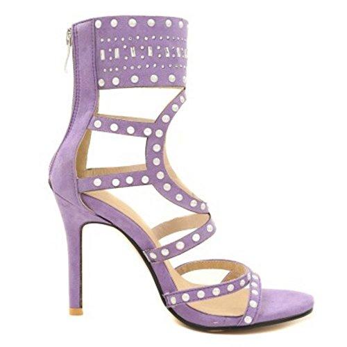 Alto Mujer Gladiator Zanpa 2 Sandalias purple Moda Tobillo gwCqvf
