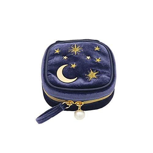 - MARUIMR Cute Star Moon Velvet Jewelry Bag Trumpet - Portable Ring Earrings Jewelry Box (Color: Purple Blue)