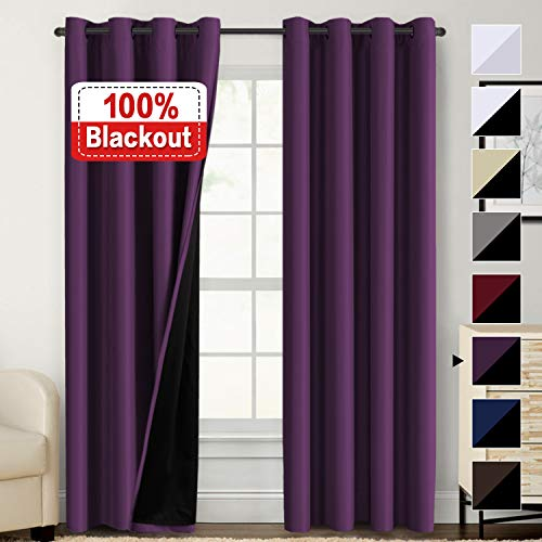 100% Blackout Curtain Set Thermal Insulated Blackout Curtains Double Layer Curtains for Bedroom/Living Room, Heavy Duty Lined Curtains 84 Inches Long, Indigo Plum, Grommet, Set of - Block Purple