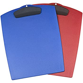 Storex Hard Poly Clipboard, Letter Sized, Blue and Red, Case of 12 (40213B12C)
