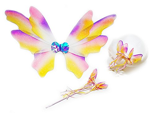 (Girls 3 Pc Fairy Set with Matching Wings, Wand and Hairclip in Pastel Rainbow Colors)
