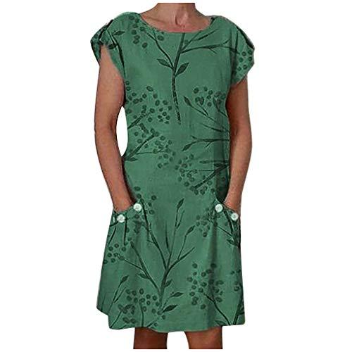 iBOXO Women's Summer Short Sleeve O-Neck Print Button Pocket Dress Casual Loose Mini Shirt Dress(Green,M)