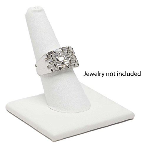 (Novel Box Single Finger White Leatherette Ring Stand Holder Jewelry Display 2X2X2