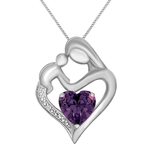Jewel Zone US Simulated Amethyst & White Natural Diamond Accent Mother & Child Heart Pendant Necklace in 14k White Gold Over Sterling Silver (11/10 Cttw)