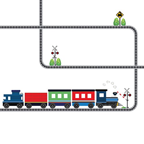 Blue Caboose Train with Straight and Curved Railroad Track Wall Decals Peel and Stick! Color 1