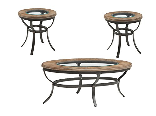 ACME Everton Oak and Antique Black Coffee End Table 3 Piece - 3 Piece Round Coffee Table