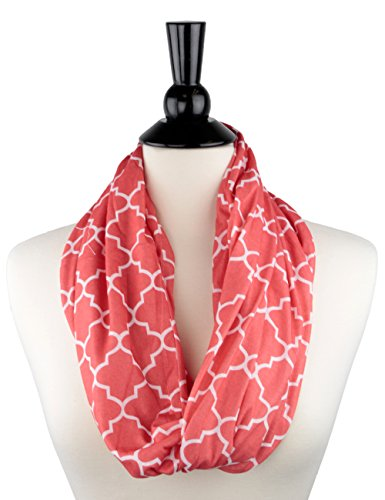 Cyber-Monday-Sale-2017, Holiday-Deals, Sales - Pop Fashion Scarf, Scarfs, Winter Scarf for Women, Womens Scarf, Infinity Scarf with Pocket, Quatrefoil (CORAL, PINK) (Sale Deals)