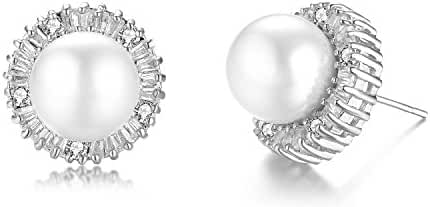 Gold Plated Shell Pearl with Cubic Zirconia Halo Stud Earrings-silver