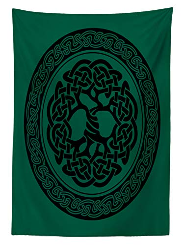 """Ambesonne Celtic Tablecloth, Monochrome Tree of Life Illustration with Ancient Timeless European Motif, Dining Room Kitchen Rectangular Table Cover, 60"""" X 90"""", Green Black"""