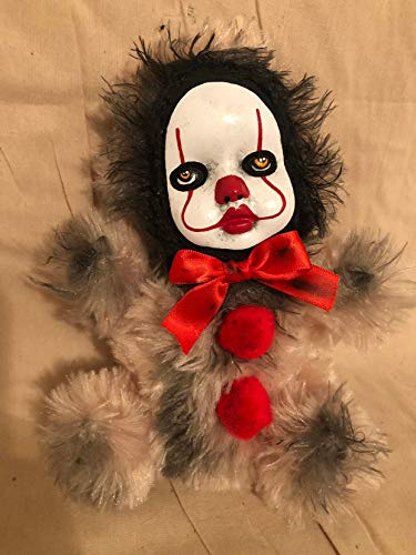 OOAK Pennywise IT Clown Teddy Bear #8 Creepy Horror Doll Art Christie Creepydolls from Christie Creepy Dolls