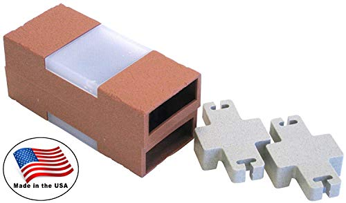 Let's Edge It! Decorative Plastic Brick Edging with Built-In Solar Lights, Terra Cotta, 2-Pack - Argee RG873 - Light Terra Cotta