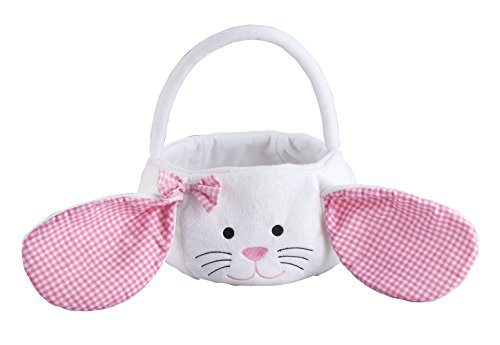 Kids Easter Basket, Plush White Bunny with Floppy Gingham Ears