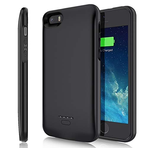TAYUZH Battery Case for iPhone 5/5S/SE, 4000mAh Slim Portable Protective Charging Case Rechargeable Extended Battery Pack Backup Power Bank Charger Case for iPhone 5/5S/SE(4.0 inch) - Black