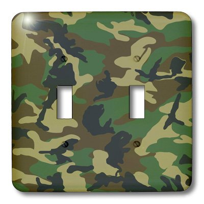 3dRose LLC lsp_20353_2 Camouflage Print Double Toggle Switch, - Dimension Camo Wall Clock