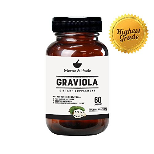 1 Graviola Extract (60 Capsules) by Mortar & Peslte - Premium Super Food Dietary Supplement for Healthy Cell Growth Positive Balanced Mood Boosts Immune System