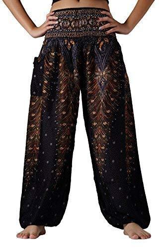 Bangkokpants Plus Size Harem Pants Boho Clothing Hippie Peacock Size US 14-22 (Black Peacock) (Belly Size Pants Dance Plus)