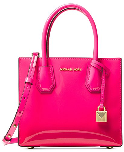 Michael Kors Mercer Patent Leather Medium Messenger Crossbody, Ultra Pink - Leather Patent Leather Messenger Bag
