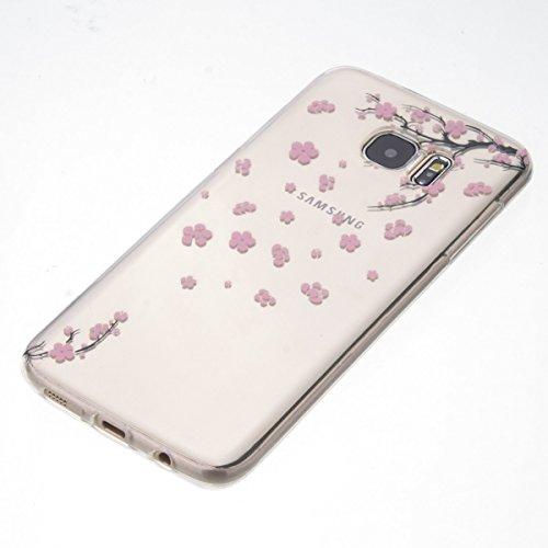 Funda para Samsung Galaxy S7 edge, Ukayfe Suave Carcasa Caso Parachoques Diseño pintado Patrón para Samsung Galaxy S7 edge,Funda Case Lujo Premium Bling Caja PC Dura Ultra Fina Cubierta Matt Glitter P Flor