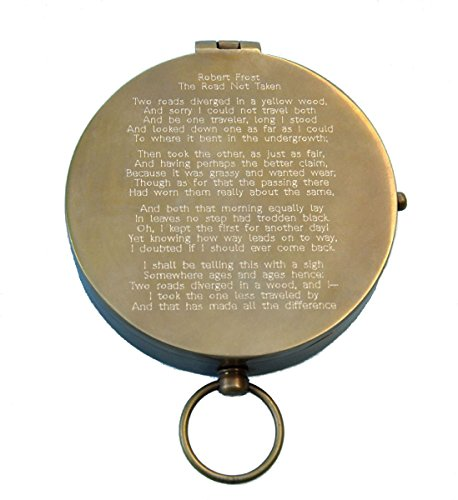 Stanley London Antique Large Brass Pocket Compass (Engraved with Robert Frost Road Not Taken)