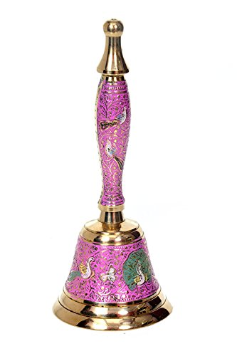 Hashcart Indian Traditional Colorful Musical Hand Held Brass Bell/Ghanti for Puja/Pooja, Prayer, Indian Festivals & Christmas, Pink