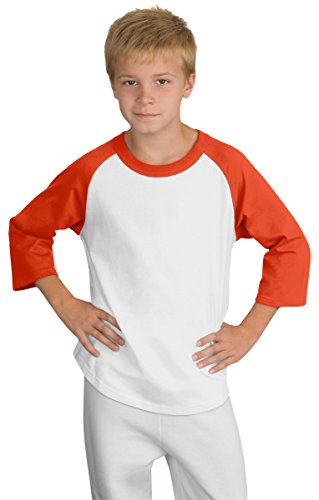 Sport-Tek YT200 Youth Colorblock Raglan Jersey-White/Deep Orange-Youth Medium (Baseball Youth Tee)