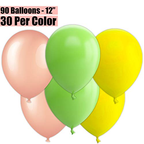 12 Inch Party Balloons, 90 Count - Metallic Rose Gold + Lime Green + Yellow - 30 Per Color. Helium Quality Bulk Latex Balloons In 3 Assorted Colors - For Birthdays, Holidays, Celebrations, and More!!