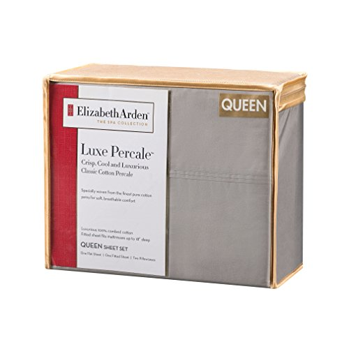 Elizabeth Arden Light-Weight 100% Long-Staple Cotton Percale Set of 2 Pillowcases - Ultra-Fine Natural Pure 300 Thread Count – Crisp & Cool - Standard/Queen Pillowcase Set of 2 - Grey by Elizabeth Arden THE SPA COLLECTION (Image #4)