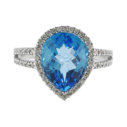 4.02 Carat ctw 14k Gold Pear Blue Topaz & Diamond Halo Split Shank Engagement Fashion Cocktail Ring - White-gold, Size 9 ()