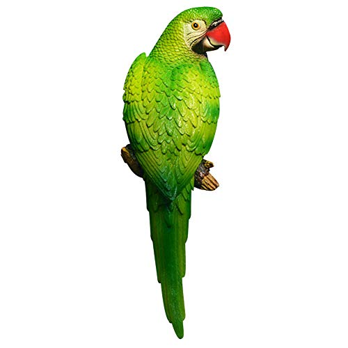 - Unicoco Tropical Macaws Wall Sculpture Resin Green Simulation Parrot Model Left Parrot Wall Hanging Decor