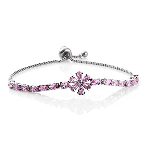 Simulated Pink Sapphire Stainless Steel Bolo Fashion Bracelet for Women Adjustable 5.1 cttw Size 9.50
