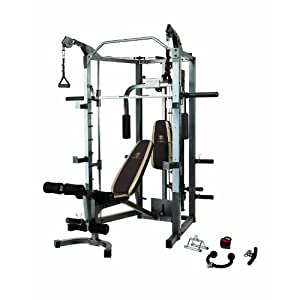 Marcy Smith Cage Machine with Workout Bench and Weight Bar Home Gym Equipment SM 4008