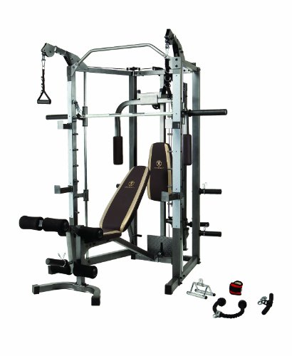 Marcy Smith Cage Machine with Workout Bench and Weight Bar Home Gym Equipment SM-4008 -