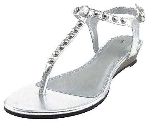 Rhinestone Studded Sandal (Cambridge Select Women's T-Strap Slingback Studded Crystal Rhinestone Thong Low Wedge Sandal (6 B(M) US, Silver))