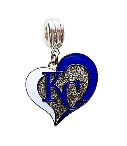 Heavens Jewelry KC Kansas City Royals Baseball Team Charm Slide Pendant for Your Necklace European Charm Bracelet (Fits Most Name Brands) DIY Projects ETC
