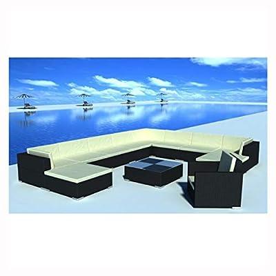 K&A Company Outdoor Furniture Set, Garden Lounge Set 35 Pieces Poly Rattan Black