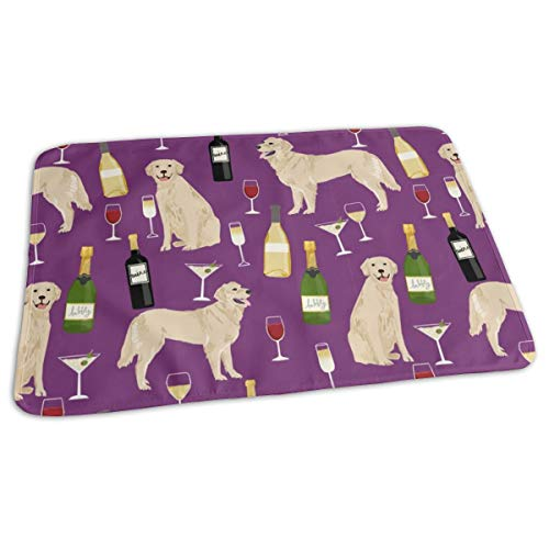 """Golden Retriever Wine Waterproof Reusable Large Changing Pad 19.7"""" x 27.5"""" - Baby Changing Mat - Unisex"""
