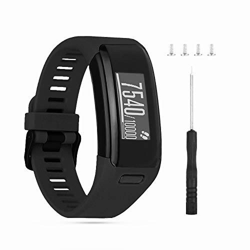 Wizvv Compatible Bands Replacement for Garmin Vivosmart HR, with Metal Buckle Fitness Wristband StrapBlack