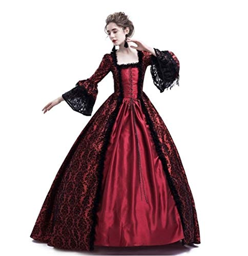 Womens Royal Retro Medieval Renaissance Dress,Lady Masquerade Princess Dress Lace up Floor Length Gown Cosplay Costume S-3XL (M, Red) ()