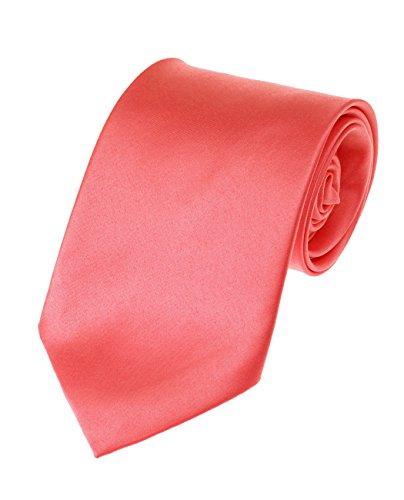 Long Coral (Men's Solid Color Extra Long XL Necktie, Coral Rose)